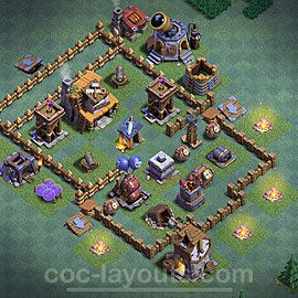 Diseño de aldea con Taller del Constructor nivel 4 Copiar - Perfecta COC Clash of Clans 2020 Base + Enlace - (#1)