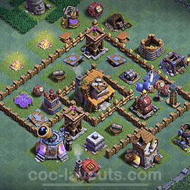 Meisterhütte LvL 4 Base + Link / Layout - Nachtdorf COC Clash of Clans 2020 - MH4 / BH4 - (#8)