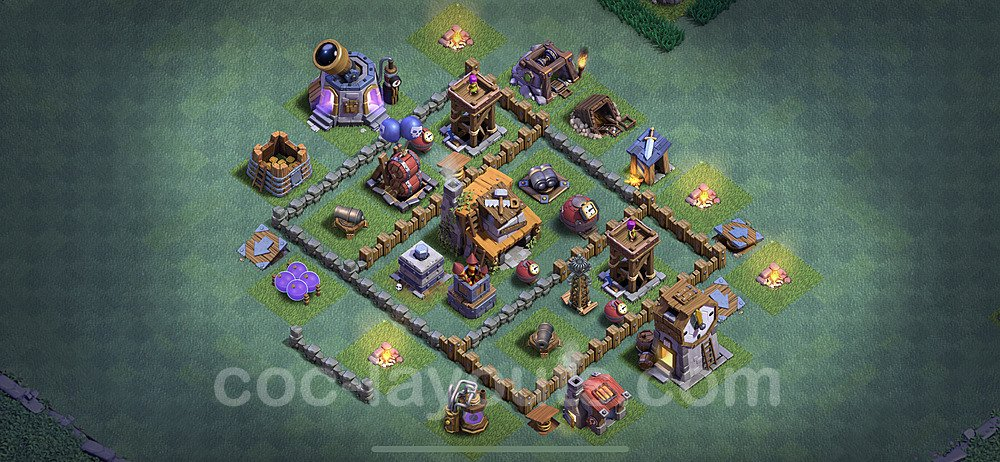 Best Builder Hall Level 4 Anti 3 Stars Base with Link - Copy Design 2020 - BH4 - #14