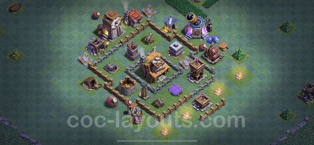 Best Builder Hall Level 4 Anti 2 Stars Base with Link - Copy Design 2020 - BH4 - #15