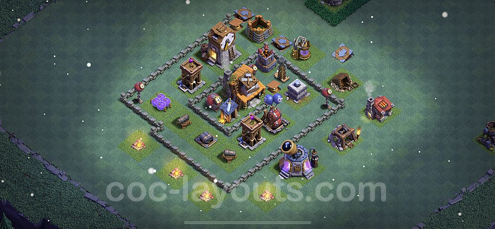 Best Builder Hall Level 4 Max Levels Base with Link - Copy Design 2021 - BH4 - #20