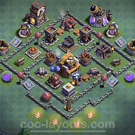 Unbeatable Builder Hall Level 5 Base with Link - Copy Design 2020 - BH5 - #3