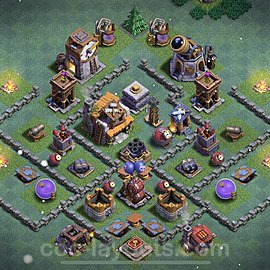 Best Builder Hall Level 5 Anti 3 Stars Base with Link - Copy Design 2021 - BH5 - #30