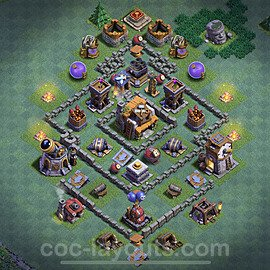 Best Builder Hall Level 5 Anti 3 Stars Base with Link - Copy Design 2021 - BH5 - #34
