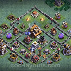 Best Builder Hall Level 5 Anti 2 Stars Base with Link - Copy Design 2021 - BH5 - #35