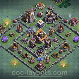 Best Builder Hall Level 5 Anti 2 Stars Base with Link - Copy Design 2021 - BH5 - #40