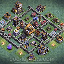 Best Builder Hall Level 5 Anti 3 Stars Base with Link - Copy Design 2020 - BH5 - #5
