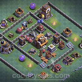 Best Builder Hall Level 5 Anti 2 Stars Base with Link - Copy Design 2020 - BH5 - #7