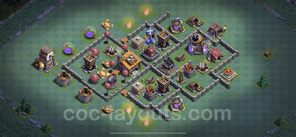 Meisterhütte LvL 6 Base + Link / Layout - Nachtdorf COC Clash of Clans 2020 - MH6 / BH6 - (#14)