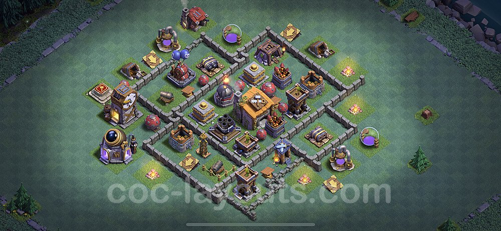 Best Builder Hall Level 6 Anti 2 Stars Base with Link - Copy Design 2020 - BH6 - #21