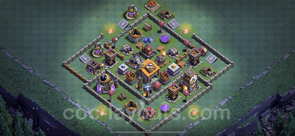 Best Builder Hall Level 6 Anti 2 Stars Base with Link - Copy Design 2020 - BH6 - #5