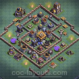 Diseño de aldea con Taller del Constructor nivel 7 Copiar - Perfecta COC Clash of Clans 2020 Base + Enlace - (#17)