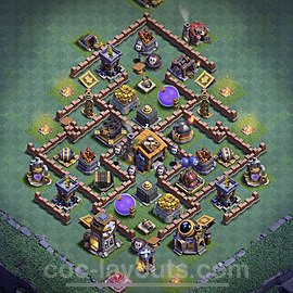 Diseño de aldea con Taller del Constructor nivel 7 Copiar - Perfecta COC Clash of Clans 2020 Base + Enlace - (#19)