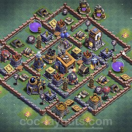 Best Builder Hall Level 8 Anti 2 Stars Base with Link - Copy Design 2021 - BH8 - #13