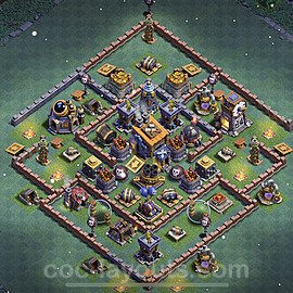 Best Builder Hall Level 8 Anti 3 Stars Base with Link - Copy Design 2021 - BH8 - #20
