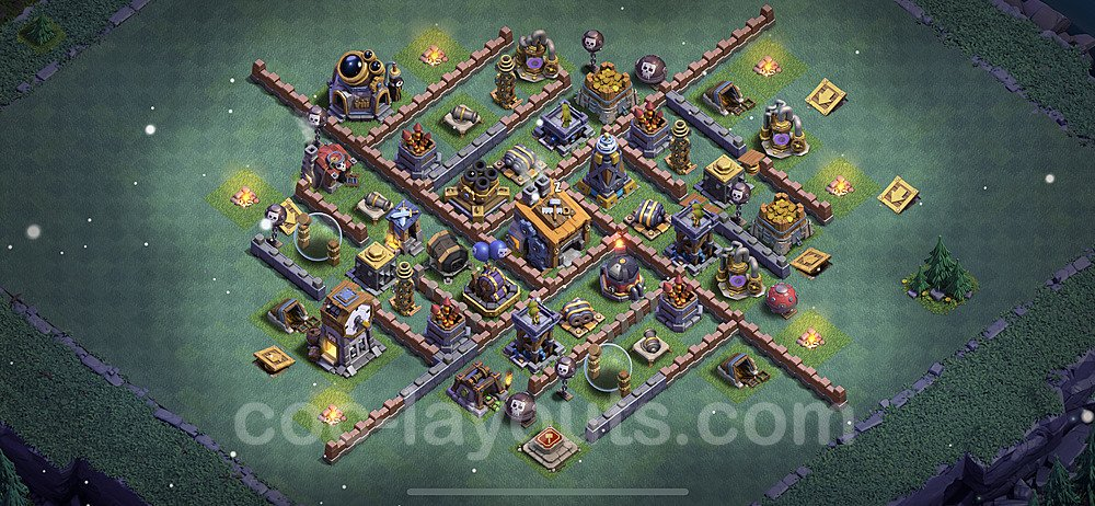 Meisterhütte LvL 8 Base + Link / Layout - Nachtdorf COC Clash of Clans 2021 - MH8 / BH8 - (#18)