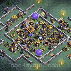Best Builder Hall Level 9 Anti Everything Base with Link - Copy Design 2021 - BH9 - #37