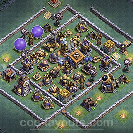 Best Builder Hall Level 9 Max Levels Base with Link - Copy Design 2021 - BH9 - #39