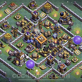 Best Builder Hall Level 9 Anti 3 Stars Base with Link - Copy Design 2021 - BH9 - #42