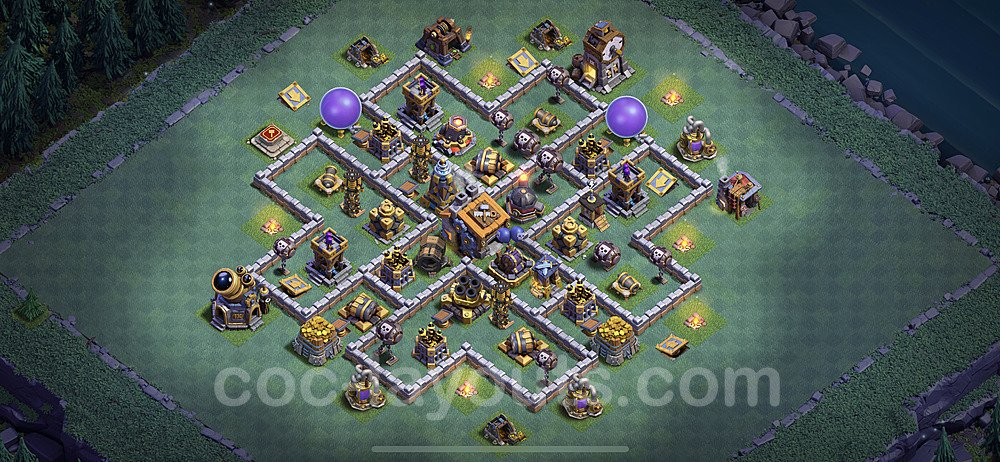 Best Builder Hall Level 9 Anti 2 Stars Base with Link - Copy Design 2020 - BH9 - #28