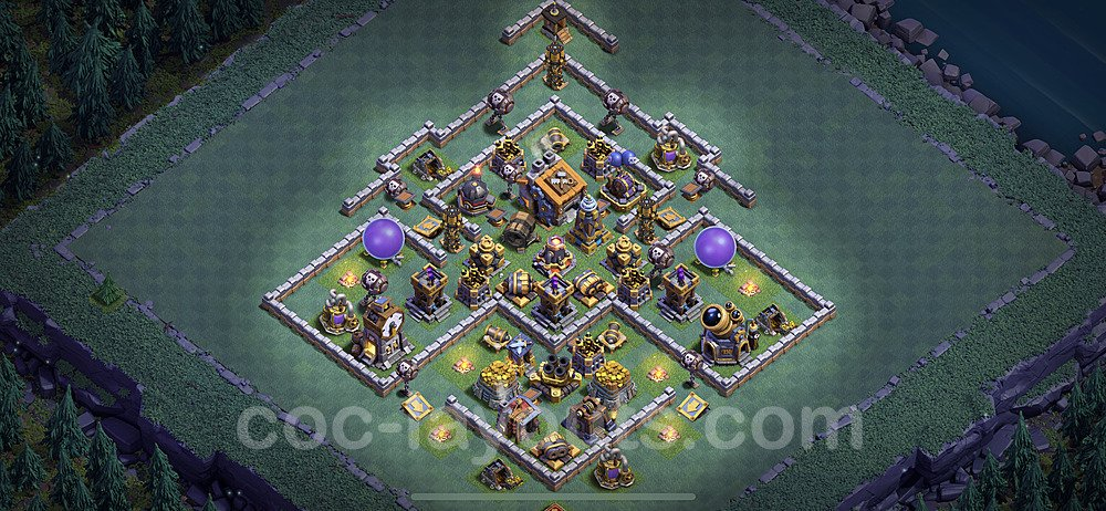 Best Builder Hall Level 9 Anti 3 Stars Base with Link - Copy Design 2021 - BH9 - #34