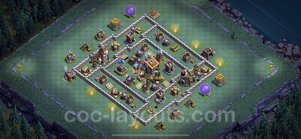 Best Builder Hall Level 9 Anti 2 Stars Base with Link - Copy Design 2020 - BH9 - #4