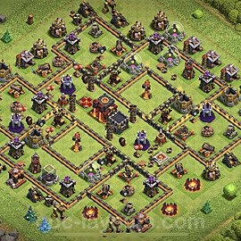 Top TH10 Unbeatable Anti Loot Base Plan with Link, Copy Town Hall 10 Base Design 2020, #151