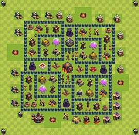 Base plan Town Hall level 10 for trophies (defence) (variant 31)