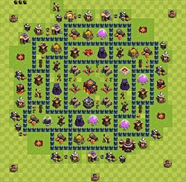 Base plan Town Hall level 10 for trophies (defence) (variant 32)