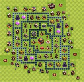 Base plan Town Hall level 10 for trophies (defence) (variant 33)