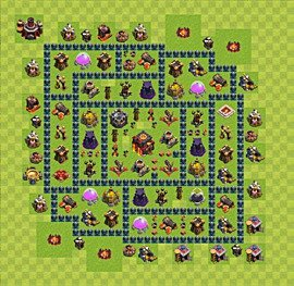 Base plan Town Hall level 10 for trophies (defence) (variant 34)