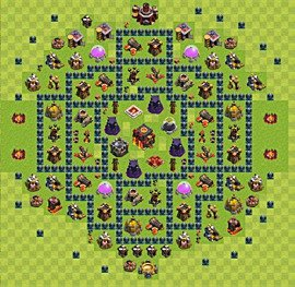 Base plan Town Hall level 10 for trophies (defence) (variant 35)