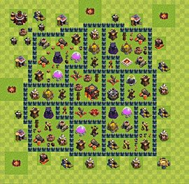 Base plan Town Hall level 10 for trophies (defence) (variant 36)