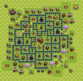 Base plan Town Hall level 10 for trophies (defence) (variant 38)