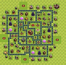 Base plan Town Hall level 10 for trophies (defence) (variant 39)