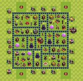 Base plan Town Hall level 10 for trophies (defence) (variant 40)