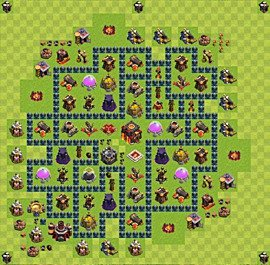Base plan Town Hall level 10 for trophies (defence) (variant 41)