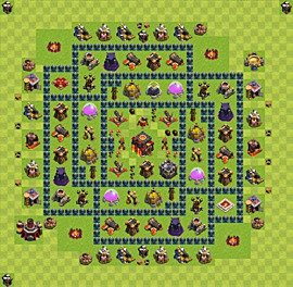 Base plan Town Hall level 10 for trophies (defence) (variant 43)