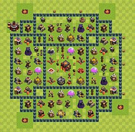 Base plan Town Hall level 10 for trophies (defence) (variant 44)