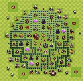 Base plan Town Hall level 10 for trophies (defence) (variant 48)