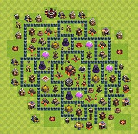Base plan Town Hall level 10 for trophies (defence) (variant 50)