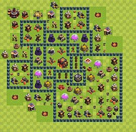 Base plan Town Hall level 10 for trophies (defence) (variant 51)