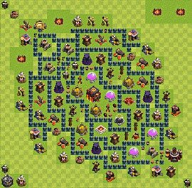 Base plan Town Hall level 10 for trophies (defence) (variant 52)