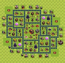 Base plan Town Hall level 10 for trophies (defence) (variant 53)
