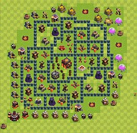 Base plan Town Hall level 10 for trophies (defence) (variant 54)