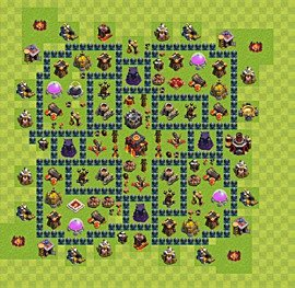 Base plan Town Hall level 10 for trophies (defence) (variant 55)