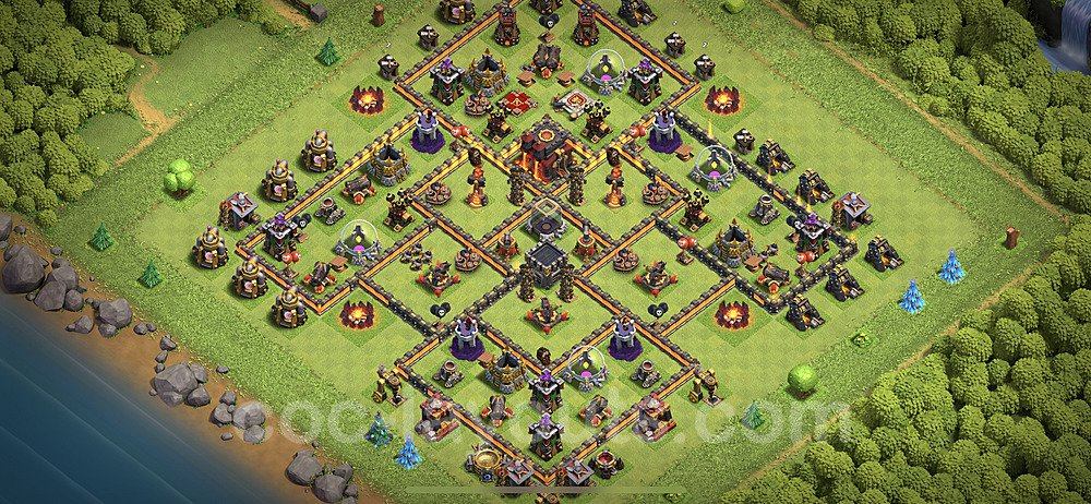 TH10 Anti 3 Stars Base Plan with Link, Copy Town Hall 10 Base Design 2020, #159
