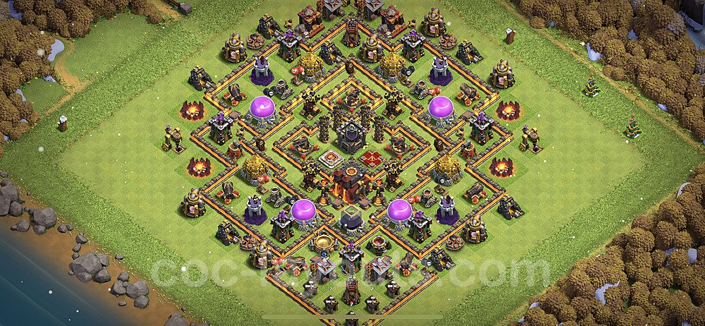 TH10 Anti 3 Stars Base Plan with Link, Copy Town Hall 10 Base Design 2021, #164