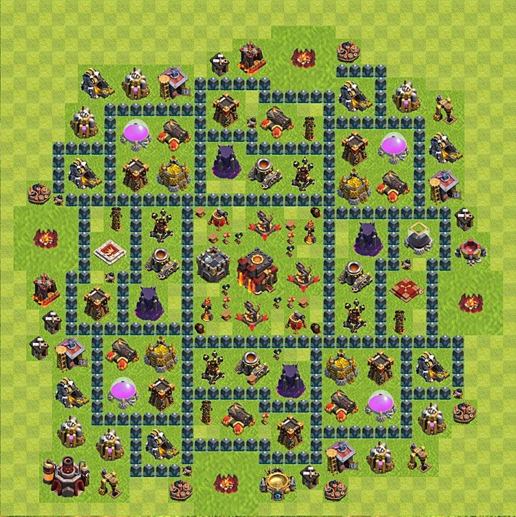 Base plan (layout) for trophies collecting TH  10 (Town Hall level 10, TH 10), variant 59