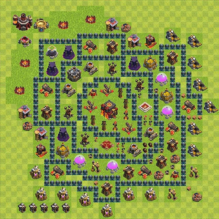 Base plan (layout) for trophies collecting TH  10 (Town Hall level 10, TH 10), variant 60